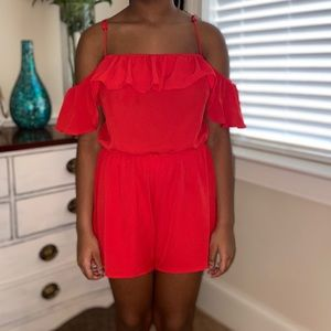 Red Ruffle Off the Shoulder Romper Size M